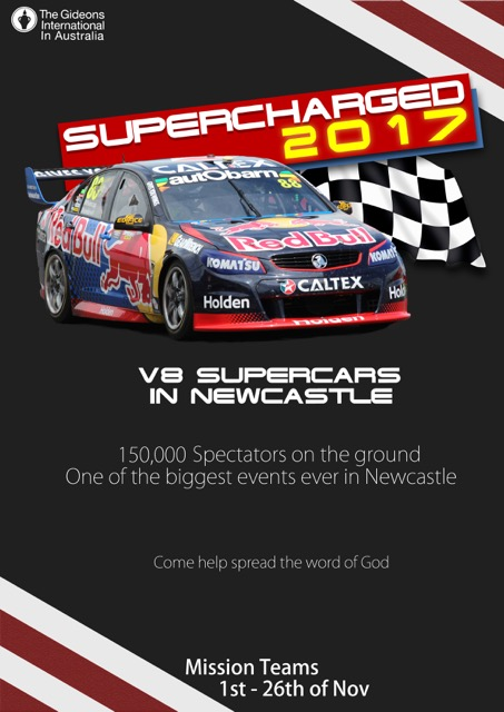 Help Gideons during the Newcastle 500 V8 Supercars Event! 1