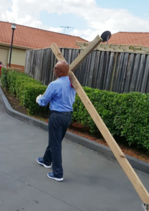 Hunter Pastor taking up his cross in the lead up to Easter 2